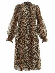 Ganni - Leopard-print Plissé-georgette Dress - Womens - Leopard