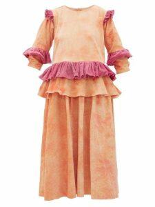 Story Mfg. - Tulsi Tie-dyed Ruffled Cotton-corduroy Midi Dress - Womens - Pink