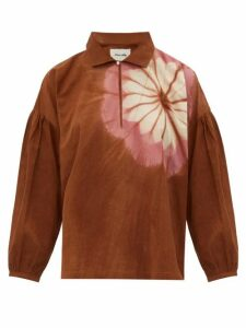 Story Mfg. - Amber Flower-dyed Organic-cotton Top - Womens - Brown Multi
