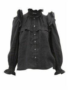 Isabel Marant Étoile - Atedy Ruffled-trim Linen Blouse - Womens - Black