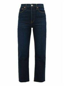 Re/Done Originals - Ultra High Rise Stove Pipe Straight-leg Jeans - Womens - Dark Denim
