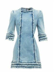 Current/elliott X Vampires Wife - Ruffled Denim Mini Dress - Womens - Light Denim