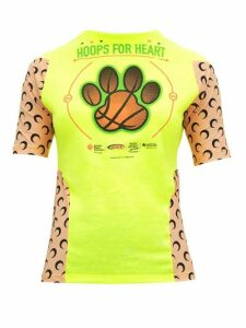 Marine Serre - Upcycled Hoops For Heart Print Jersey T Shirt - Womens - Neon Yellow