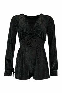 Womens Velvet Ruched Flippy Playsuit - black - 12, Black