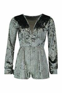 Womens Velvet Ruched Flippy Playsuit - grey - 14, Grey