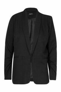 Womens Ruched Sleeve Blazer - Black - 10, Black