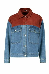 Womens Cord Detail Oversized Denim Jacket - blue - 10, Blue
