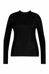 Womens Plus Glitter Stripe High Neck Longsleeve Top - black - 24, Black