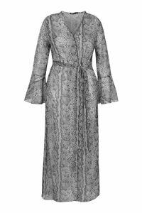 Womens Plus Snake Print Frill Sleeve Kimono - Grey - 18, Grey