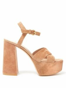 Gianvito Rossi - Crossover Front 70 Platform Suede Sandals - Womens - Nude