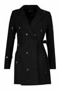 Womens Embellished Wrap Detail Blazer Dress - black - 6, Black