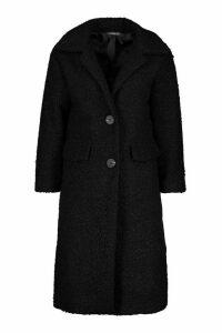 Womens Petite Teddy Faux Fur Oversized Coat - black - 4, Black