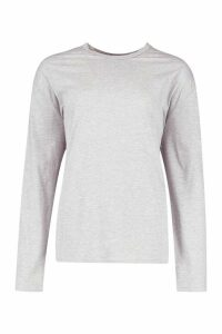 Womens Soft Oversized Long Sleeve T-Shirt - grey - XL, Grey