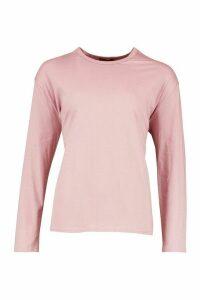 Womens Soft Oversized Long Sleeve T-Shirt - purple - XL, Purple