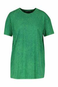 Womens Back Print Acid Wash T-Shirt Nashville - green - M, Green
