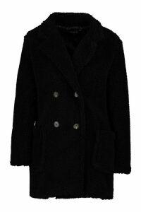 Womens Petite Double Breasted Teddy Coat - black - 14, Black