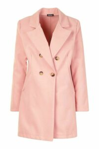 Womens Double Breasted Back Detail Wool Look Coat - pink - 12, Pink