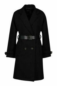 Womens Petite Belted Wool Look Trench Coat - black - 12, Black