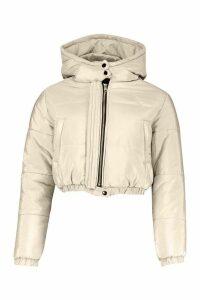 Womens Hooded Crop Puffer - beige - 12, Beige
