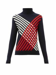 Perfect Moment - Intarsia Stripe Roll Neck Merino Wool Sweater - Womens - Navy