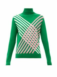 Perfect Moment - Intarsia-stripe Roll-neck Merino-wool Sweater - Womens - Green
