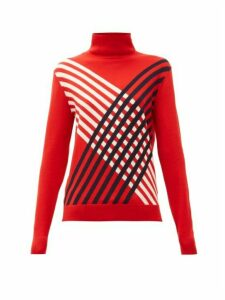 Perfect Moment - Stripe Intarsia Roll Neck Merino Wool Sweater - Womens - Red