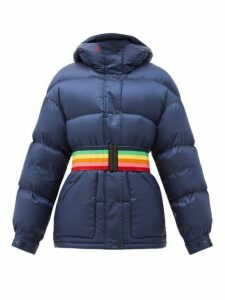 Perfect Moment - Oversized Rainbow-belt Down-filled Ski Jacket - Womens - Navy