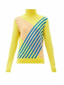 Perfect Moment - Stripe-intarsia Roll Neck Merino-wool Sweater - Womens - Yellow