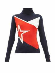 Perfect Moment - Super Day Star Intarsia Merino Wool Sweater - Womens - Navy