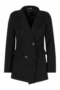 Womens Petite Longline Double Breasted Blazer - black - 6, Black
