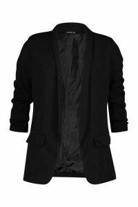 Womens Petite Ruched Sleeve Blazer - black - 10, Black