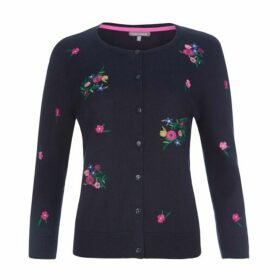 Embroidered Floral Crew Neck Cardigan