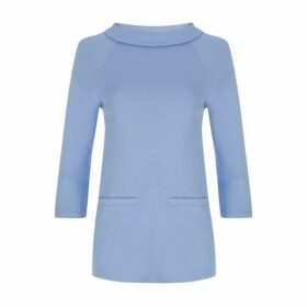 Blue Ponte Bardot Top