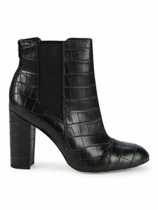 Case Croc-Embossed Leather Booties