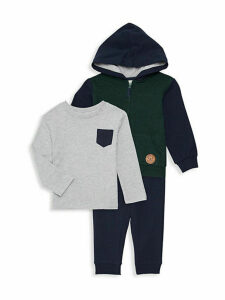 Baby Boy's 3-Piece Cotton Long-Sleeve Tee, Hoodie, & Jogger Pants.