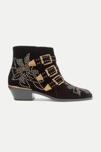 Chloé - Susanna Crystal-embellished Velvet Ankle Boots - Black