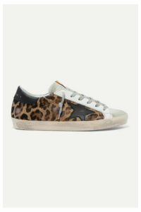 Golden Goose - Superstar Distressed Leopard-print Calf Hair, Leather And Suede Sneakers - Leopard print