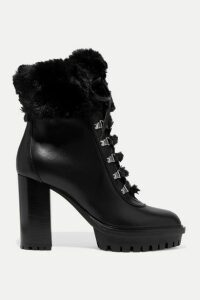 Gianvito Rossi - 100 Faux Fur-trimmed Leather Platform Ankle Boots - Black