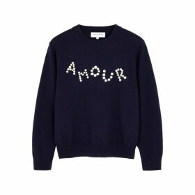 Maison Labiche Amour Daisy Embroidered Wool Jumper