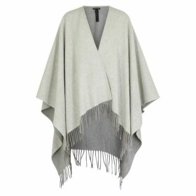 EILEEN FISHER Grey Brushed Wool-blend Cape