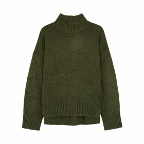 Frame Denim Olive Roll-neck Wool-blend Jumper