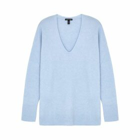 EILEEN FISHER Light Blue V-neck Cashmere-blend Jumper