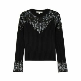Jonathan Simkhai Black Sequin-embellished Wool-blend Jumper