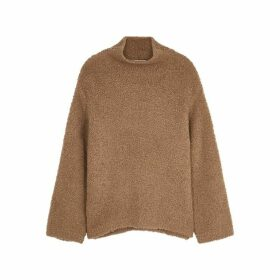 Vince Brown Wool-blend Bouclé Jumper