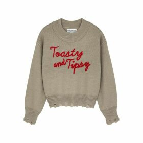 Wildfox Toasty And Tipsy Grey Knitted Jumper