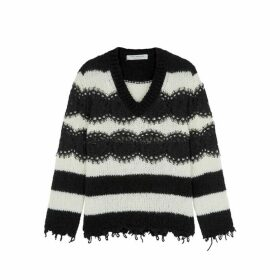 Philosophy Di Lorenzo Serafini Monochrome Striped Wool-blend Jumper