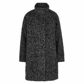 EILEEN FISHER Black Alpaca-blend Bouclé Coat