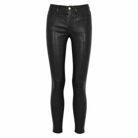 Frame Denim Le High Black Skinny Leather Jeans