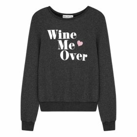 Wildfox Wine Me Over Grey Brushed-jersey Sweatshirt