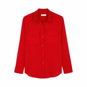 Equipment Slim Signature Red Silk Shirt